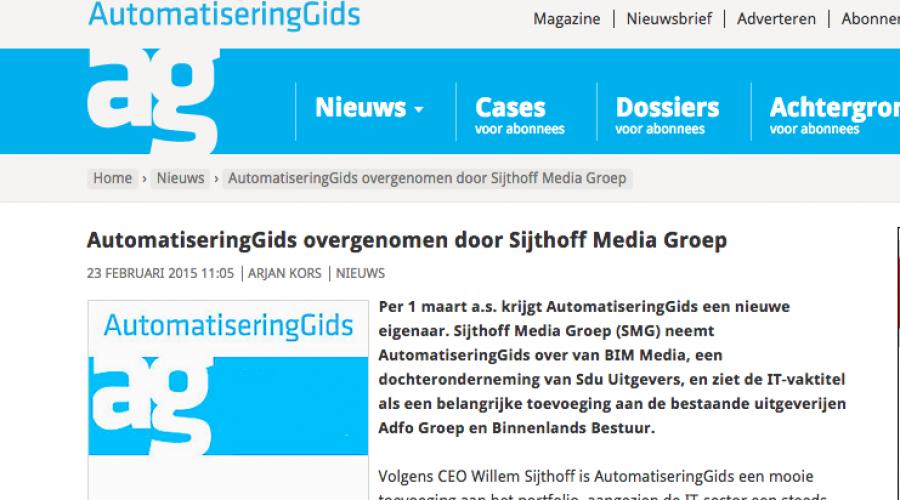 AutomatiseringGids overgenomen door Sijthoff Media Groep