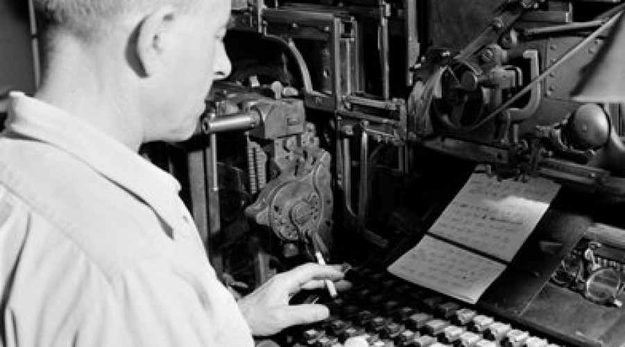 Oude zetmachine van Linotype naar New Skool Media
